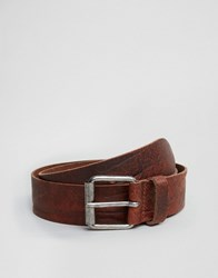 Asos Slim Brown Leather Belt With Vintage Finish Brown