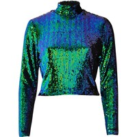 River Island Womens Bright Blue Sequin Turtleneck Crop Top Turquoise