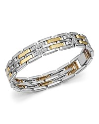 Bloomingdale's Diamond Men's Bracelet In 14K Yellow Gold And Sterling Silver 0.50 Ct. T.W. 100 Exclusive White Gold