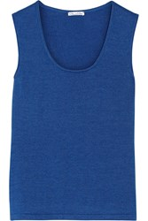 Oscar De La Renta Cashmere And Silk Blend Top Blue
