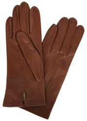 Dents Chestnut Brown Silk Lined Leather Gloves Light Brown