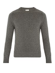 Saint Laurent Crew Neck Camel Wool Sweater Grey