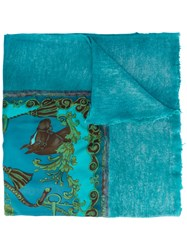 Avant Toi Printed Scarf Women Silk Cashmere One Size Blue