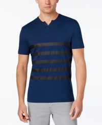Kenneth Cole Reaction Men's Split Neck Striped T Shirt Laguna