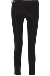 Versace Leather Trimmed Tech Jersey Skinny Pants