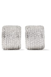 Kenneth Jay Lane Rhodium Plated Cubic Zirconia Clip Earrings Silver Gbp