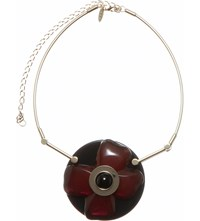 Marni Flower Resin Necklace Black Cherry
