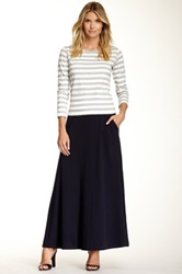 Joan Vass Long Full Pocket Skirt Blue