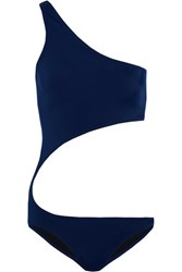 Norma Kamali Shane One Shoulder Cutout Swimsuit Navy