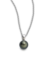 Mikimoto 9Mm Black Round Cultured South Sea Pearl And 18K White Gold Pendant Necklace