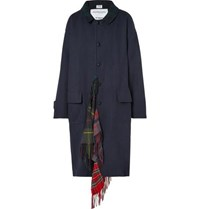 Vetements Oversized Checked Scarf Trimmed Wool Twill Coat Navy
