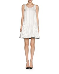 Giorgio Armani Pinstripe Jacquard Sleeveless Flare Dress White Black White Black