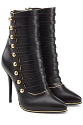 Balmain Leather Boots With Buttons Black