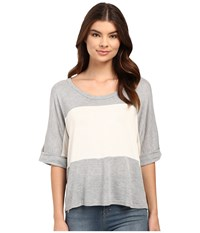 Culture Phit Luz 3 4 Sleeve Color Block Tee Grey Women's T Shirt Gray