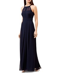 Hobbs London Alexis Pleated Gown Navy