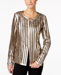 Jm Collection Metallic Faux Leather Jacket Only At Macy's Luxe Stripe