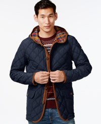 Tommy Hilfiger Big And Tall Guberman Quilted Hooded Coat Navy Blazer