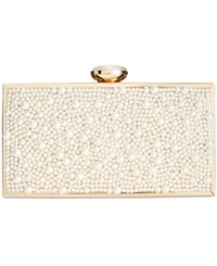 Inc International Concepts Lyvia Imitation Pearl Clutch Only At Macy's Ivory Gold