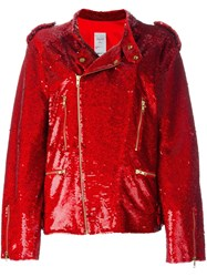 Ashish Sequin Biker Jacket Red