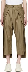 D.Gnak By Kang.D Beige Front Panel Side Vent Trousers