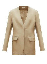 The Row Murray Collarless Twill Blazer Beige
