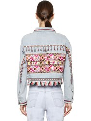 Don't Believe The Hype Embroidered Cotton Denim Jacket
