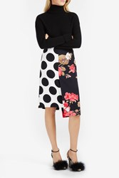 Msgm Polka Dot And Floral Print Skirt Multi
