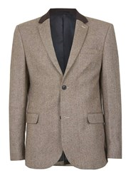 Topman Brown Wool Blend Slim Fit Blazer