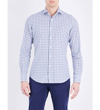 Slowear Regular Fit Checked Cotton Shirt Mid Blue