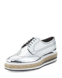 Prada Men's Metallic Leather Brogue Espadrille Creeper Gray