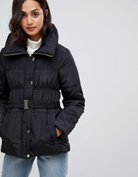 New Look Short Ruched Padded Coat Black