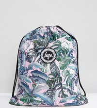 Hype Exclusive Pastel Garden Palm Print Drawstring Backpack Multi Palm