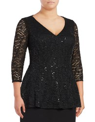 Alex Evenings Plus Lace Peplum Top Black