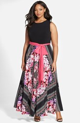 Plus Size Women's Eliza J Scarf Print Jersey And Crepe De Chine Maxi Dress