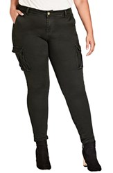 City Chic Plus Size Jungle Frenzy Cargo Pants Army