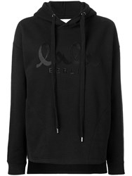 Lala Berlin Logo Embroidered Hooded Sweatshirt Black