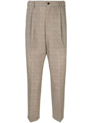 Loveless Drop Crotch Tailored Trousers Brown