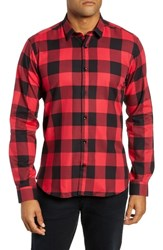 Jared Lang Trim Fit Buffalo Check Sport Shirt