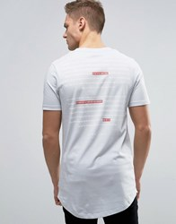 Jack And Jones Core Longline T Shirt With Crest Logo Oyster Mushroom White