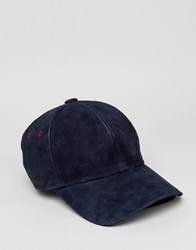 Ted Baker Jasz Baseball Cap In Suede Navy