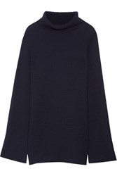 The Row Jose Ribbed Cashmere And Silk Blend Turtleneck Sweater Navy