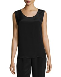 Caroline Rose Long Silk Crepe Tank Women's Black