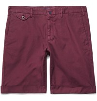 Incotex Stretch Cotton Shorts Burgundy