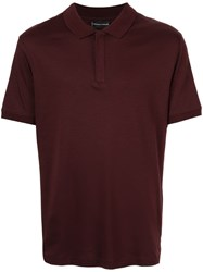 Emporio Armani Concealed Front Polo Shirt Red
