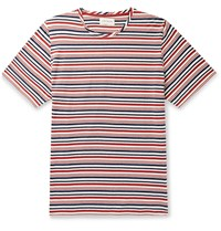 Oliver Spencer Striped Cotton Jersey T Shirt Red