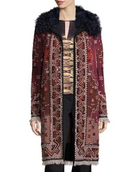 Tory Burch Tapestry Coat W Fur Collar Red Pattern