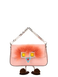 Fendi Micro Baguette Fur Embellished Cross Body Bag Pink Multi