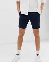 Selected Homme Chino Shorts In Organic Cotton Navy