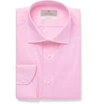 Canali Light Pink Slim Fit Cotton Poplin Shirt Pink