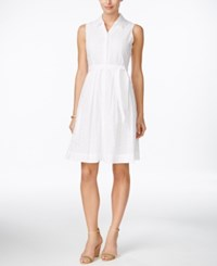 Charter Club Petite Sleeveless Eyelet Shirtdress Only At Macy's Bright White